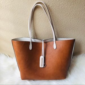 Street Level Reversible Faux Leather Tote Bag